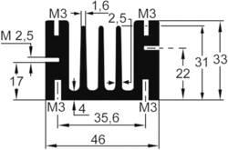 Profilno hladilno telo 4.6 K/W (D x Š x V) 50 x 46 x 33 mm TO-220 TRU Components TC-V5583E-203
