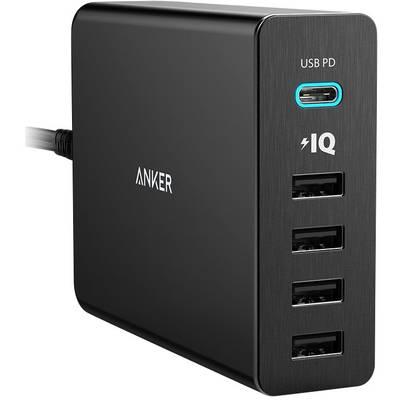 Anker PowerPort+ 5 Premium A2053311 USB charging station Mains socket Max. output current 9000 mA 5 x USB, USB-C socket USB Power Delivery (USB-PD)