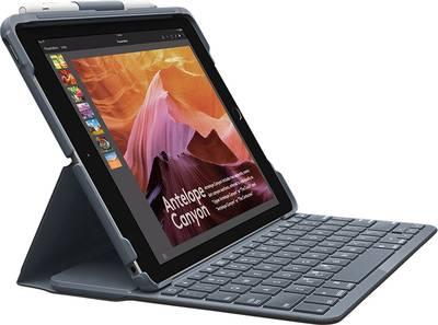 Image of Logitech Slim Folio Tablet PC keyboard and book cover Compatible with (tablet PC brand): Apple iPad 9.7 (March 2017), iP