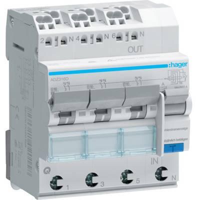 Hager ADZ316D RCCB 3-phase 3-pin 16 A 0.03 A 230 V