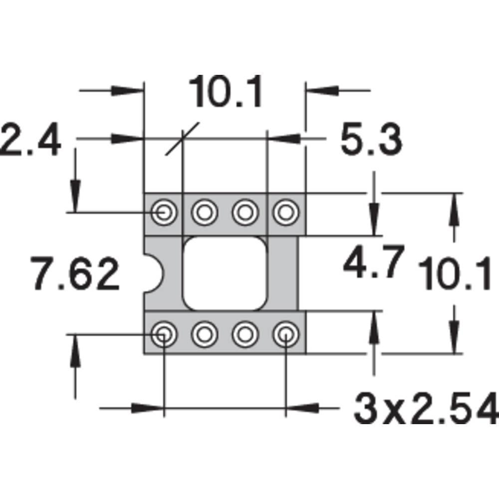 IC podnožje 7.62 mm št. polov: 8 Preci Dip 110-83-308-41-001101 natančni kontakti 1 kos