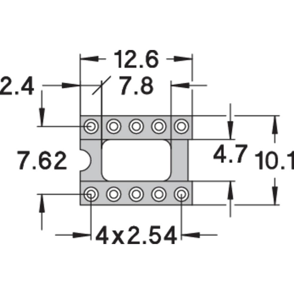 IC podnožje 7.62 mm št. polov: 10 Preci Dip 110-83-310-41-001101 natančni kontakti 1 kos