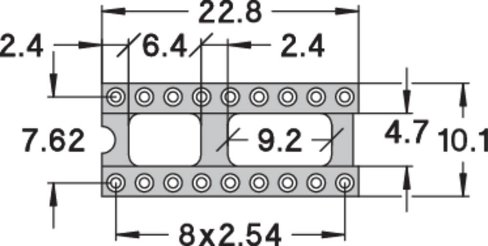 IC podnožje 7.62 mm št. polov: 18 Preci Dip 110-83-318-41-001101 natančni kontakti 1 kos