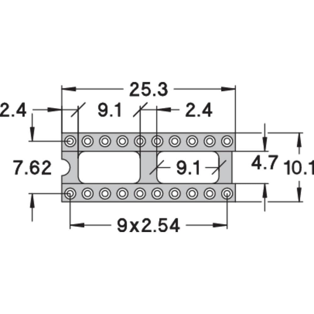 IC podnožje 7.62 mm št. polov: 20 Preci Dip 110-83-320-41-001101 natančni kontakti 1 kos