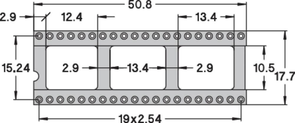 IC podnožje 15.24 mm št. polov: 40 Preci Dip 110-83-640-41-001101 natančni kontakti 1 kos