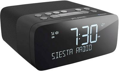 Image of Pure Siesta Rise S FM Radio alarm clock Bluetooth, FM, USB Battery charger Black