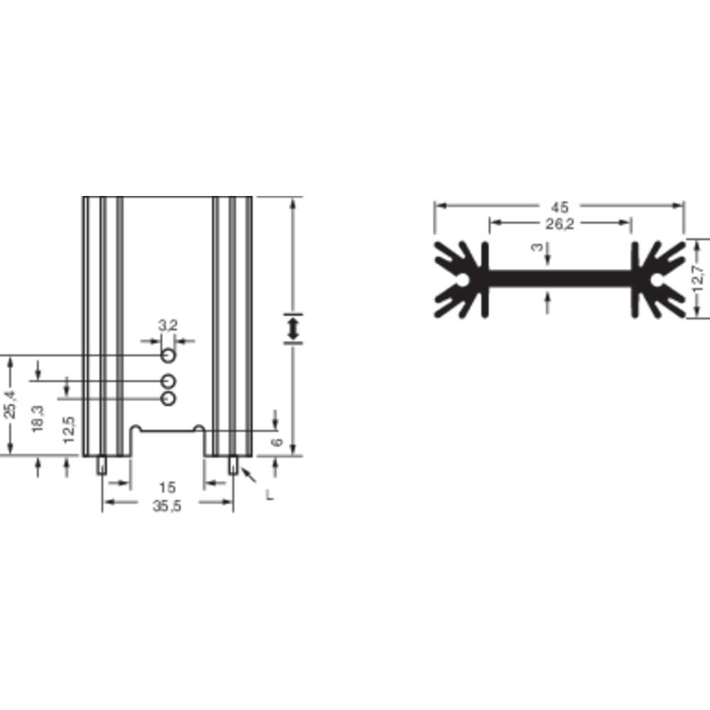 Profilno hladilno telo 6.2 K/W (D x Š x V) 50.8 x 45 x 12.7 mm TO-220, TO-218, TO-3P Fischer Elektronik SK 409 50,8 STS