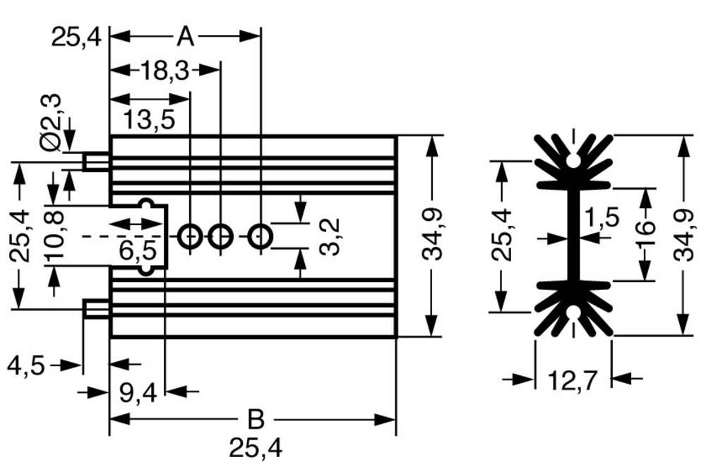 Profilno hladilno telo 11 K/W (D x Š x V) 38.1 x 34.9 x 12.7 mm TO-220, SOT-32 Fischer Elektronik SK 104 38,1 STS