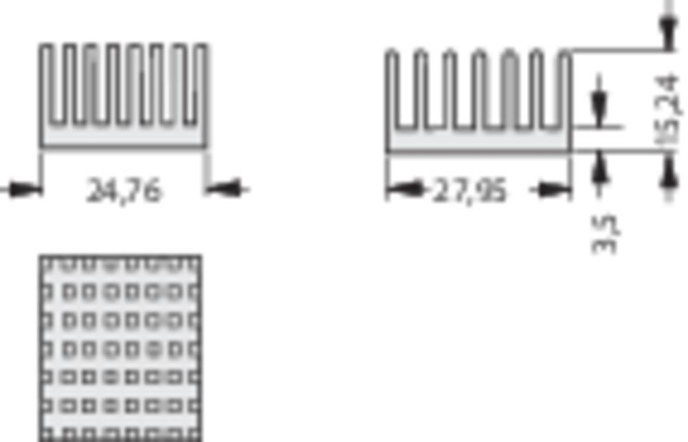Kølelegemer 9.8 K/W (L x B x H) 36 x 36 x 12.3 mm Fischer Elektronik ICK PGA 14 X 14 X 12