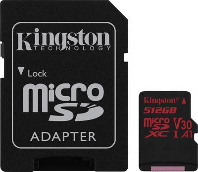 Image of Kingston Canvas React microSDXC card 512 GB Class 10, UHS-I, Class 3 UHS-I , v30 Video Speed Class incl. SD adapter
