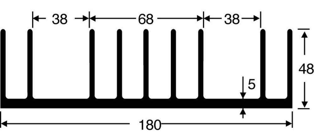 Kølelegemer 0.85 K/W (L x B x H) 75 x 180 x 48 mm Fischer Elektronik SK 53 75 SA