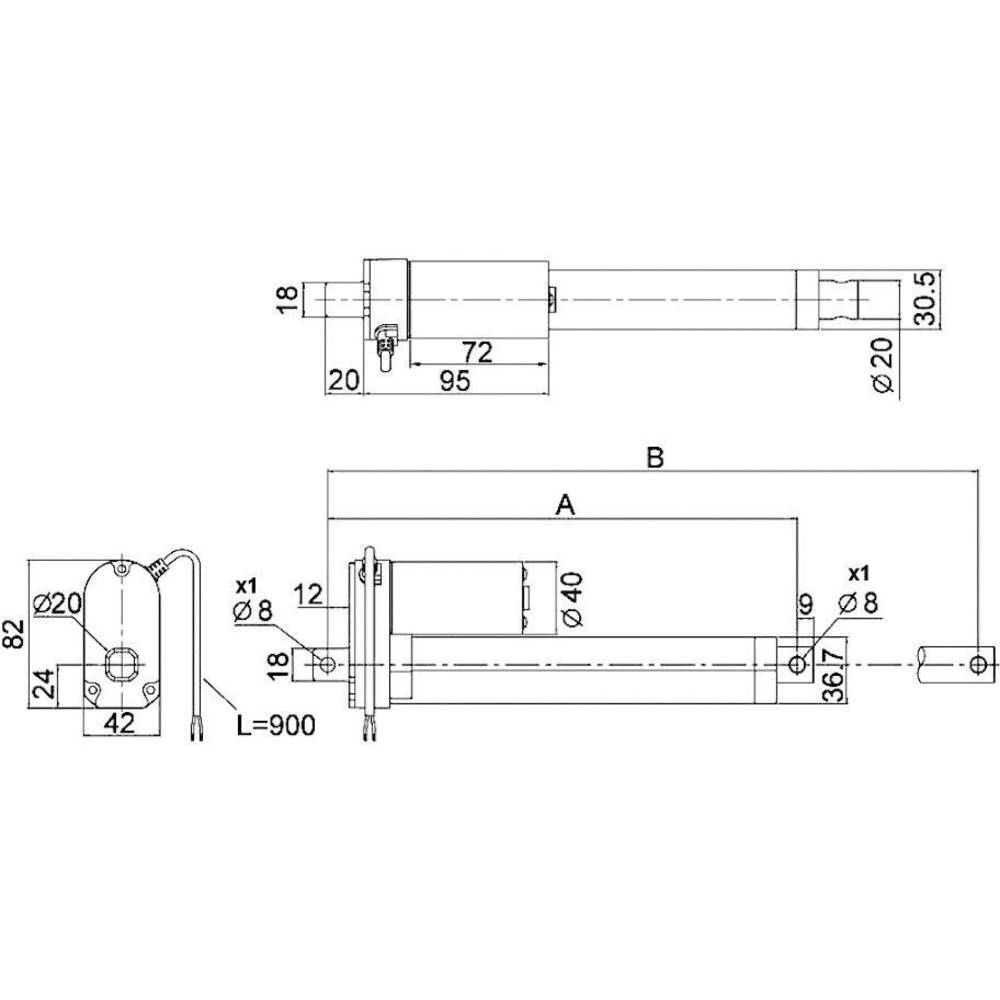 Drive System Europe Dszy1 12 40 A 100 Ip65 Linear Actuator Vdc Schematic Stroke Length Mm 1000 N