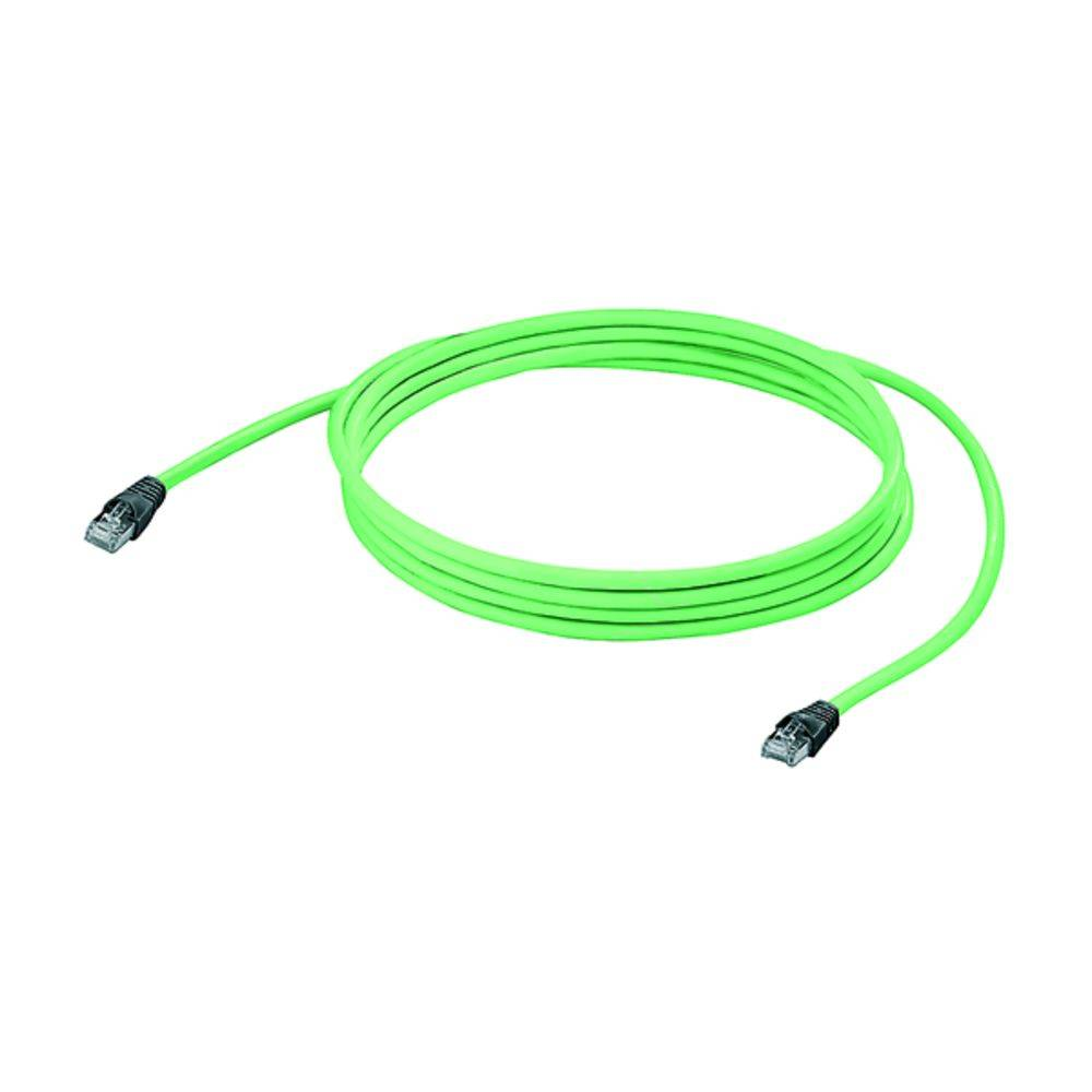 RJ45 omrežni priključni kabel CAT 5, CAT 5e SF/UTP [1x RJ45-vtič - 1x RJ45-vtič] 15 m zelen negorljiv