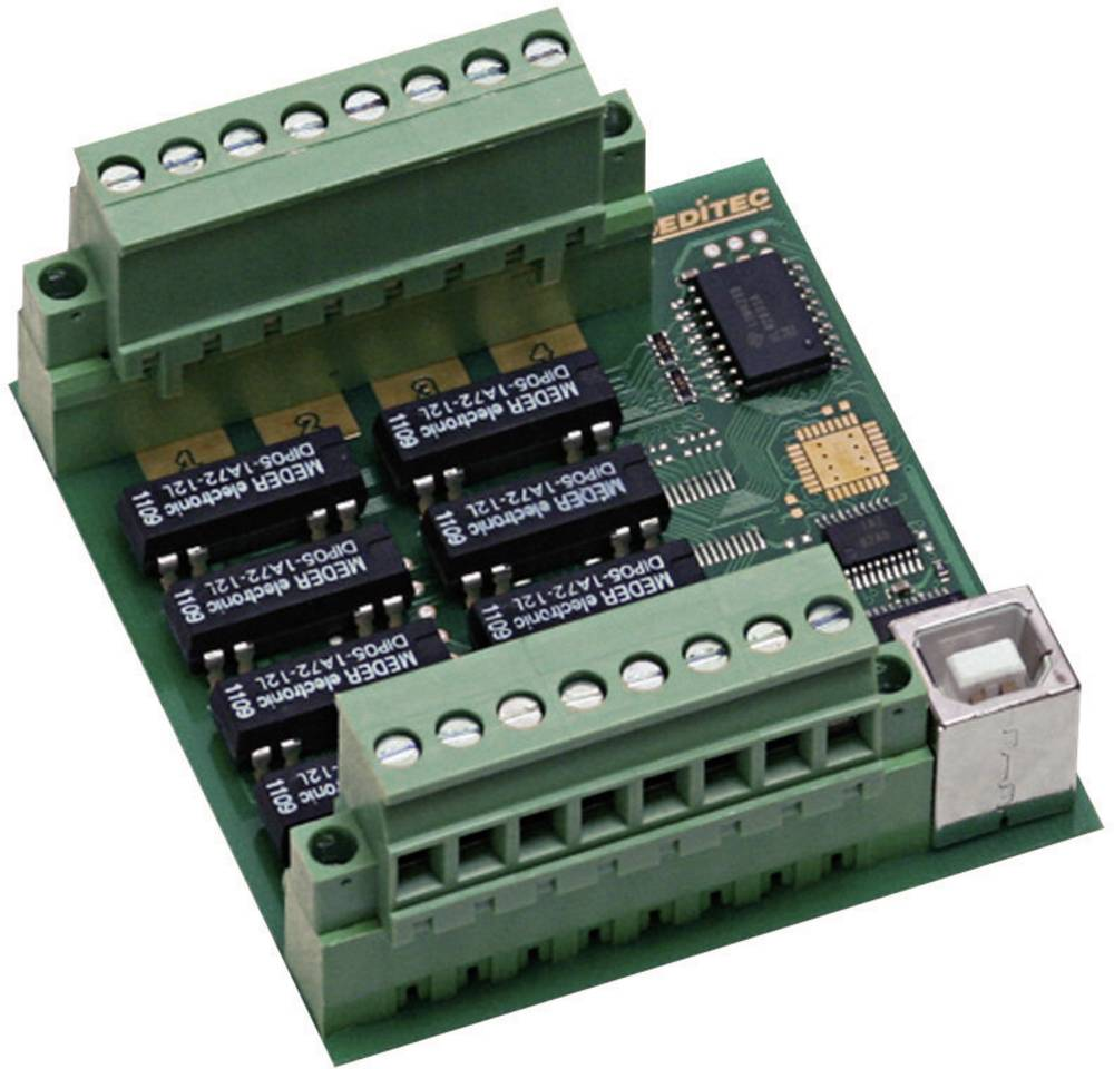 Deditec-USB modul, USB Sučelje, kompaktan, digitalni, relejnih izlaza 8, vijčana montaža USB-RELAIS-8_B