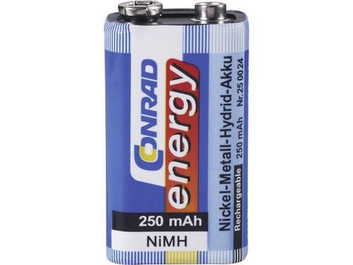 Oplaadbare 9V batterij (blok) Conrad energy 6LR61 NiMH 8.4 V 250 mAh 1 stuks