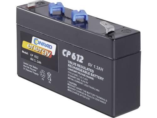 Loodaccu 6 V 1.2 Ah Conrad energy 250091 Loodvlies (AGM)