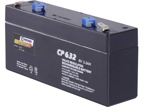 Loodaccu 6 V 3.2 Ah Conrad energy 250103 Loodvlies (AGM)