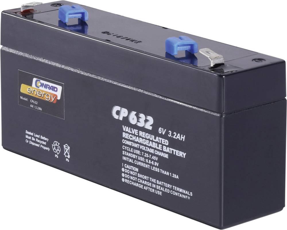 Svinčev akumulator 6 V 3.2 Ah Conrad energy CE6V/3,2Ah 250103 svinčevo-koprenast (AGM) 134 x 61 x 34 mm ploščati vtič 4.8 mm