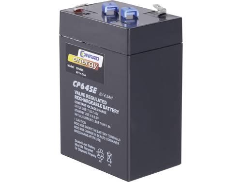Conrad energy CE 6V / 4,5 Ah Loodaccu 6 V 4.5 Ah Loodvlies (AGM) (b x h x d) 70 x 108 x 48 mm Kabelschoen 4.8 mm Onderhoudsvrij