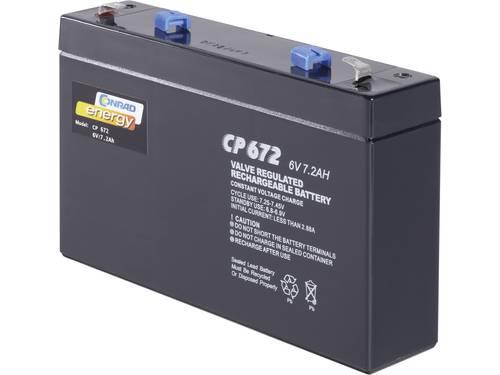 Conrad energy CE6V/7Ah Loodaccu 6 V 7 Ah Loodvlies (AGM) (b x h x d) 151 x 94 x 34 mm Kabelschoen 4.8 mm Onderhoudsvrij