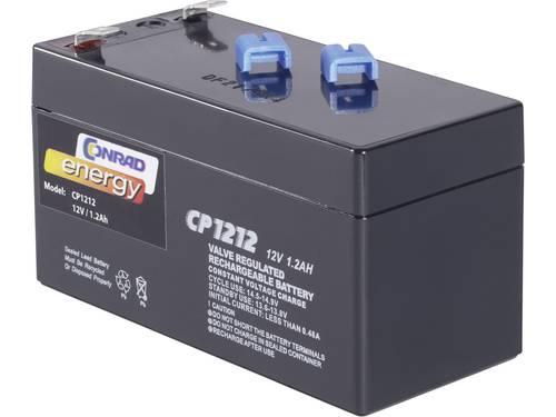 Loodaccu 12 V 1.2 Ah Conrad energy 250165 Loodvlies (AGM)