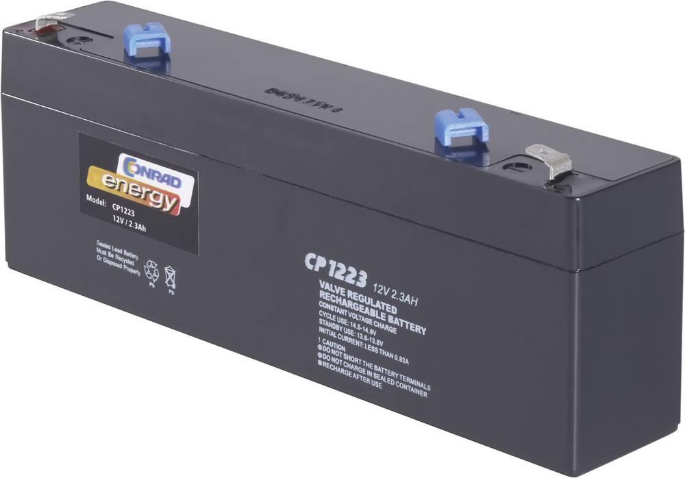 Svinčev akumulator 12 V 2.3 Ah Conrad energy CE12V/2,3Ah 250177 svinčevo-koprenast (AGM) 177 x 60 x 34 mm ploščati vtič 4.8 mm