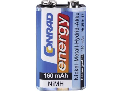 Oplaadbare 9V batterij (blok) Conrad energy 6LR61 NiMH 8.4 V 160 mAh 1 stuks
