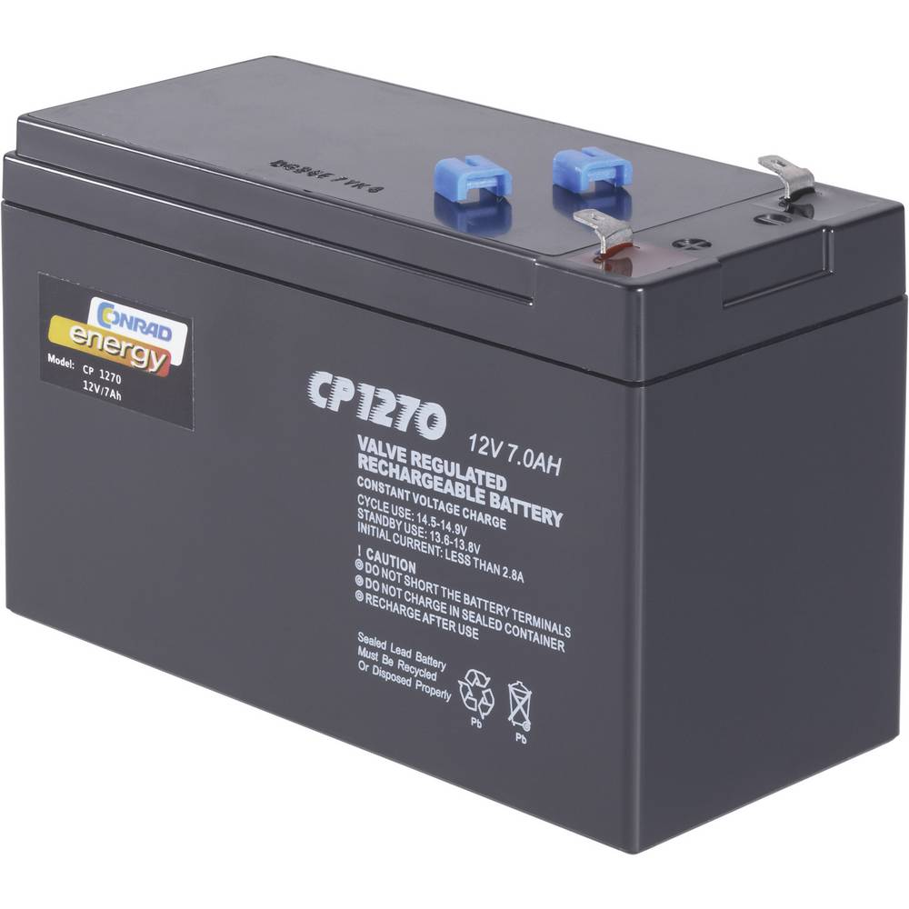 Blybatteri Conrad energy 250202 Bly AGM 12 V 7 Ah