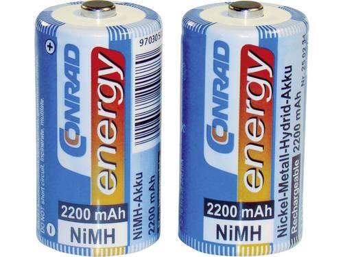 Oplaadbare C batterij (baby) Conrad energy HR14 NiMH 1.2 V 2200 mAh 2 stuk(s)