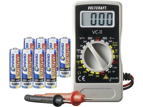 Conrad energy Oplaadbare batterijenset AA, 8 stuks Incl. multimeter