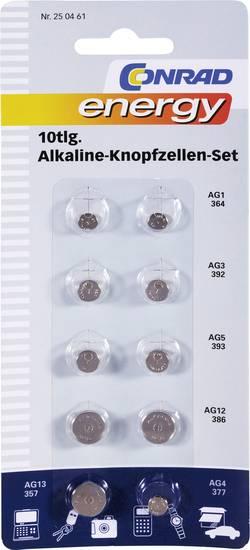 Conrad energy Knappcells-set Vardera 2x AG1, AG3, AG5, AG12, samt vardera 1x AG13, AG4