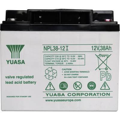 Yuasa NPL38-12 YUANPL38/12 VRLA 12 V 38 Ah AGM (W x H x D) 197 x 170 x 165 mm M5 connector Maintenance-free