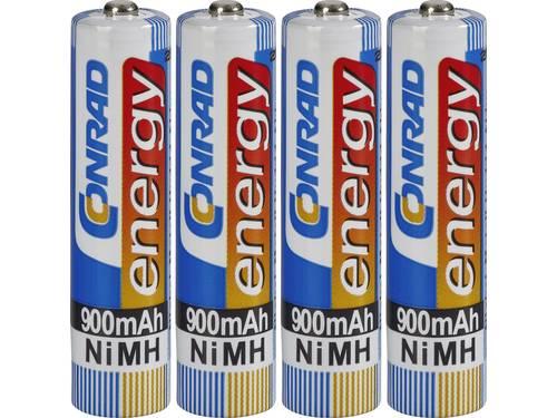 Oplaadbare AAA batterij (potlood) Conrad energy HR03 NiMH 900 mAh 1.2 V 4 stuks