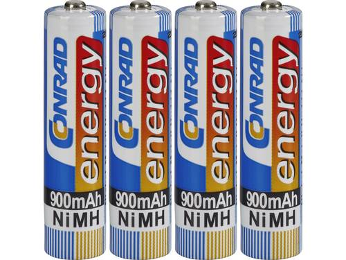 Oplaadbare AAA batterij (potlood) Conrad energy HR03 NiMH 900 mAh 1.2 V 4 stuk(s)