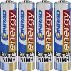 Laddbart batteri R03 (AAA) NiMH Conrad energy HR03 900 mAh 1.2 V 4 st