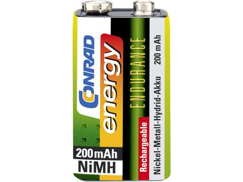 Oplaadbare 9V batterij (blok) Conrad energy Endurance 6LR61 NiMH 8.4 V 200 mAh 1 stuk(s)