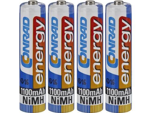 Oplaadbare AAA batterij (potlood) Conrad energy HR03 NiMH 1100 mAh 1.2 V 4 stuks