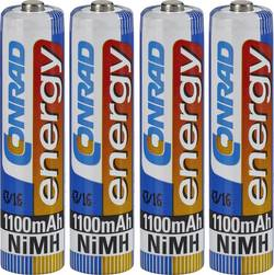 Laddbart batteri R03 (AAA) NiMH Conrad energy HR03 1100 mAh 1.2 V 4 st