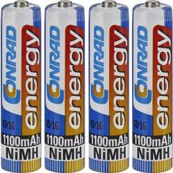 Genopladeligt AAA-batteri NiMH Conrad energy HR03 1100 mAh 1.2 V 4 stk