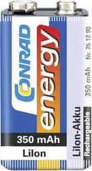 Laddbart batteri 9 V Li-Ion Conrad energy 6LR61 350 mAh 7.4 V 1 st