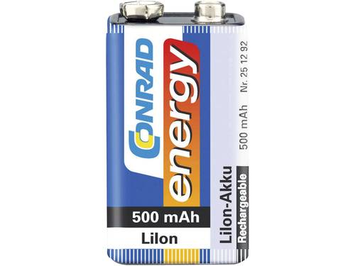 Oplaadbare 9V batterij (blok) Conrad energy 6LR61 Li-ion 7.4 V 500 mAh 1 stuk(s)