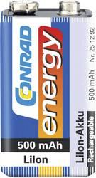 Laddbart batteri 9 V Li-Ion Conrad energy 6LR61 500 mAh 7.4 V 1 st