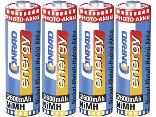 Oplaadbare AA batterij (penlite) NiMH Conrad energy Photoakku HR06 2600 mAh 1.2 V 4 stuks