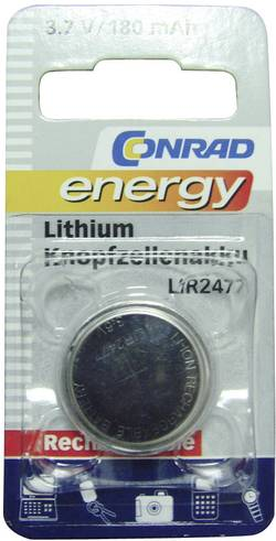 Laddbart batteri Knappcell LIR 2477 Litium Conrad energy LIR2477 180 mAh 3.6 V 1 st