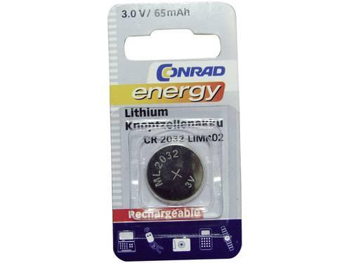 Conrad energy CR2032 Oplaadbare knoopcel ML 2032 Lithium 65 mAh 3 V 1 stuks