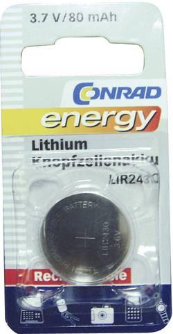 Laddbart batteri Knappcell LIR 2430 Litium Conrad energy LIR2430 80 mAh 3.6 V 1 st