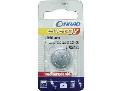 Conrad energy LIR2025 Oplaadbare knoopcel LIR2025 Lithium 30 mAh 3.6 V 1 stuks