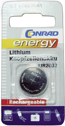 Laddbart batteri Knappcell LIR 2032 Litium Conrad energy LIR2032 45 mAh 3.6 V 1 st
