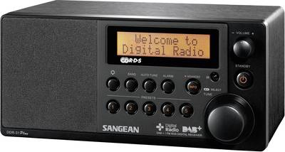 Sangean DDR-31+ DAB+ Table top radio AUX, DAB+, FM Black