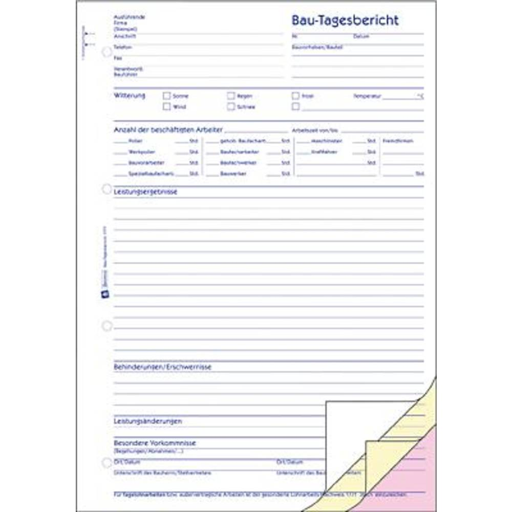 avery zweckform daily report form 1777 a4 no of sheets 40 from